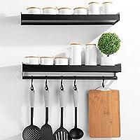 Xabitat 悬浮式厨房架壁挂式带 6 个可拆卸衣架 40.64 厘米   耐用可洗重型金属调料架收纳   现代家居厨房和浴室装饰   2 件套   黑色