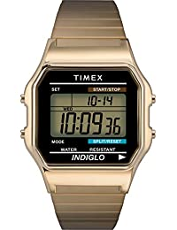 Timex 男士手表 数字手表 石英 不锈钢 T78677PF,金色调