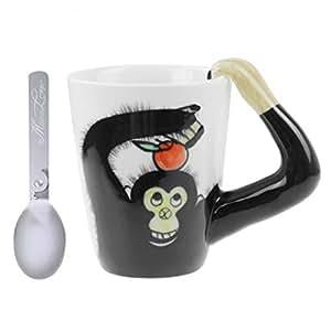 陶瓷咖啡杯 手绘 3D 动物咖啡杯 陶瓷杯 饮水杯 牛奶咖啡茶杯 旅行杯 Orangutans cup 均码 CUP-COA15OUS