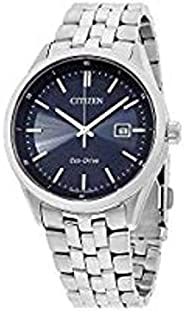 Citizen 西鐵城 手表 男式 石英手表 配藍色指針表盤和銀色不銹鋼手鏈 BM7251-53L,blue/silver