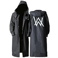 【是风衣也是雨衣】成人雨衣 时尚艾伦沃克图案 户外男士长款 黑色(L)