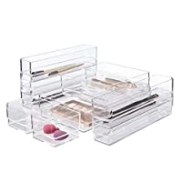 STORi 透明塑料化妆品和梳妆台抽屉收纳盒   10 件套