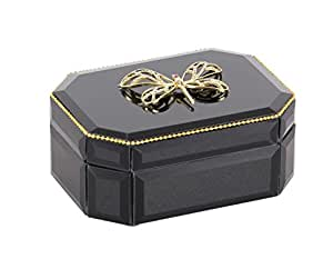 """木质蜻蜓黑色玻璃盒,黑色/金色,7.62cm x 15.24cm 黑色/金色 3"""" x 6"""" 35784"""