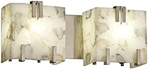Justice Design Group ALR-8882-NCKL 雪花石膏岩石夹三层 2 灯浴杆,16.51 cm x 40.64 cm x 12.07 cm,拉丝镍