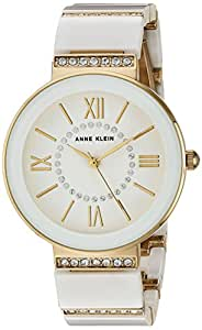 Anne Klein 女士 AK/2832WTGB 施华洛世奇水晶点缀金色和白色陶瓷手链手表