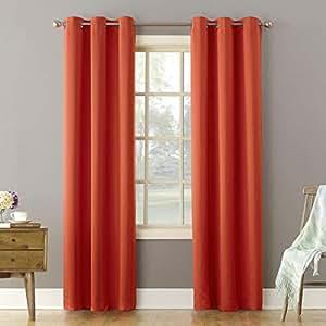 Sun Zero Millennial Becca Room Darkening Curtain Panel, 40 x 84 Inch, Tangerine