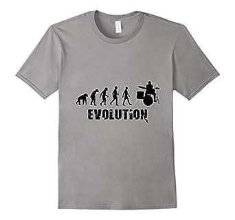 Drummer Evolution Symbols Funny Humor T-Shirt 蓝灰色 Male Medium