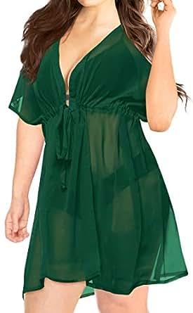 LA LEELA 罩衫沙滩比基尼泳装和服夏季连衣裙女士纯色 Olive Green_c175 OSFM 16-32 [W-5X]