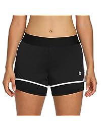 CQC 女式 女孩 运动 跑步 2 合 1 短裤 - 运动服 瑜伽 锻炼 慢跑 短裤