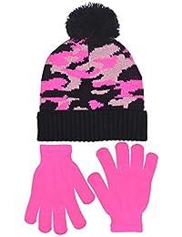 Polar Wear 女孩数字迷彩帽子和手套套装粉色和紫色设计