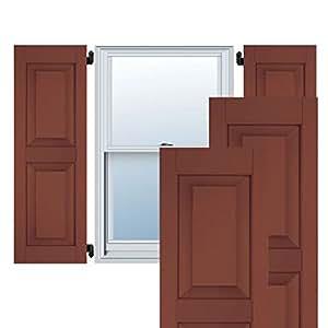 Ekena Millwork ER0109000X029750WRW 22.86 厘米宽 x 74.93 厘米高 外部西部红雪松 2等凸起面板百叶窗,乡村红木