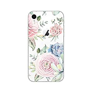 iPhone XR 手机壳,Blingy 新款透明可爱花卉哑光保护柔软 TPU 橡胶手机壳,适用于 iPhone XR 浅粉色杂色