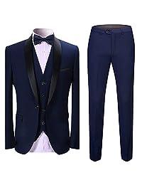 Boyland 男式 3 件套套装青果翻领燕尾服披肩翻领单扣燕尾服背心长裤晚婚