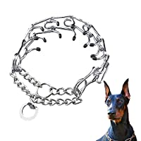 狗爪训练项圈,不锈钢扼流圈,带有快速释放扣和橡胶帽,适合中型和大型犬,4 毫米 X 23.6 英寸(长度:23.6 英寸--重量:约 90 磅))