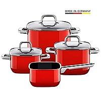 Silit 喜力特 鍋套裝 4 件套 紅色。方形、可疊加、德國制造、全金屬手柄、玻璃蓋、silargan  functional 陶瓷、適合感應爐、可機洗