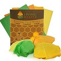 Living Health 蜂蜡可重复使用食品包装(1S,2M,1L) - *,环保包装 - 保持水果,蔬菜,剩菜新鲜 - 替代塑料粘附包装和铝或雷诺包装
