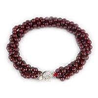 THERA 提亚珠宝 石榴石手链,天然石榴石手链,酒红色石榴石配925纯银手链BGRG-416
