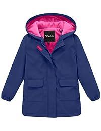Wantdo 女童和男孩连帽防雨夹克防水羊毛内衬风衣