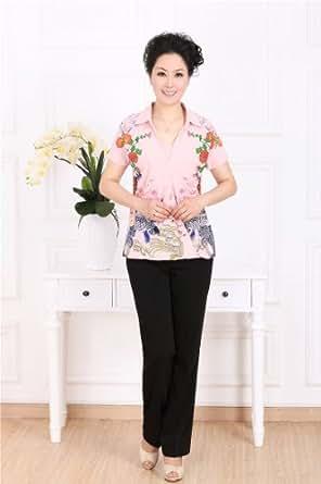 VEK夏季新款中老年妈妈装翻领印花短袖衬衣棉麻韩版中国风大码女 (xxl, 粉色)