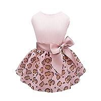 Fitwarm 豹纹狗连衣裙狗狗衣服小狗衣服生日派对小狗宠物服装粉色 粉红色 小号
