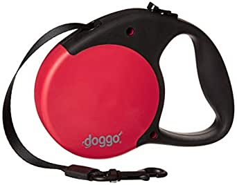 Doggo Everyday Retractable Dog Leash with Soft Grip Handle with 65 lb Support, 16'/Small, Red/Black