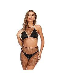 MISMXC 女式性感透视网眼海滩比基尼闪亮水钻镂空连体衣连体衣 节日俱乐部装