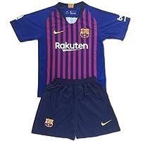 儿童/青少年巴塞罗那足球俱乐部 2018-2019 家庭足球球衣和短裤套装