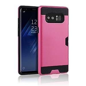 三星 Galaxy Note 8 手机壳(2017),拉丝耐用装甲双层TPU+PC 装甲卡槽支架[超薄贴合] 全机身保护套,适用于 Samsung Galaxy Note 8,防震 玫瑰色和黑色