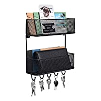 PAG 壁挂式信件收纳袋 双篮 悬挂式信件分类器 带 5 个钥匙挂钩 适用于入口通道、厨房、泥室、家庭和办公室,黑色