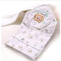 比多乐 婴幼儿抱被新生儿包被 婴儿纯棉多功能包被宝宝外出抱毯抱被睡袋两用用品儿童狮子卡通包被春夏薄款 抱被+系带1个 6107款 (白色单层狮子薄款)