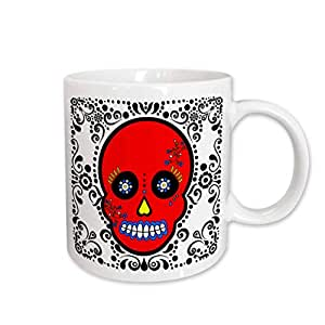 3dRose Day of The Dead Skull Día De Los Muertos Sugar Skull Red White Black Scroll Design Mug, 11-Oz