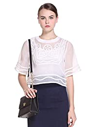 Five Plus 女式 纯色欧根纱绣花宽松短袖衬衫 2HL2015170