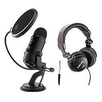 Blue microphones Yeti USB 麦克风带 Studio 耳机和 KNOX POP 过滤器 漆黑