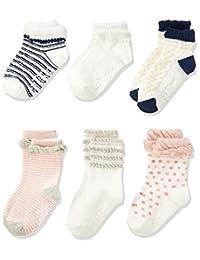 Filloie 婴儿 6双组袜子基本款 女孩 上幼儿园 上学 附带防滑扣 附带文字记入空间