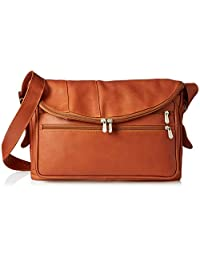 Piel Leather Cross Body Tote, Saddle, One Size