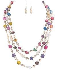 C&C 厚实多色粉色棕色蓝色红色青色虹色淡桃层围嘴项链 48.26 厘米带耳环