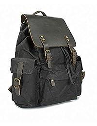 帆布皮革笔记本电脑背包,复古学校旅行徒步旅行帆布背包,男女皆宜,男女皆宜