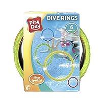 Play Day 潜水环 - 6 只装潜水玩具,水下游泳池游戏,闪光多色,潜水和收割,EZ 抓握大直径环