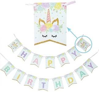 生日快乐横幅女婴生日派对装饰 独角兽 Banner