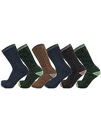男式美利奴羊毛袜 68%,6 双装,徒步,露营,寒冷,缓冲,彩色,散装包装