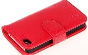 Lychee Style 对开钱包皮革卡套适用于 iPhone 4 4GS 粉红色