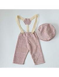 micia luxury(美西亚拉格)新款牛仔裤 男孩 帽子 带吊带裤 2件套 4色 摄影 新生儿 小物品 照片 粉色