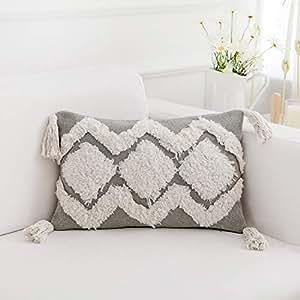 "famibay 针织枕头套,装饰棉质针织枕套垫套双线针织图案柔软温暖抱枕套 45.72 cm x 45.72 cm Tufting-Gray 12""X20"""