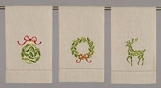Peking Handicraft 冬青装饰圣诞刺绣手巾 3 件套