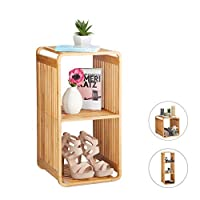 Relaxdays 竹架,圆形立式架子,窄型浴室架,带架子,方形,不同尺寸,自然 自然 3 Ablagen 10024216_348