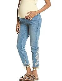 Flutter & Kick 孕妇全幅紧身九分刺绣牛仔裤,12 码