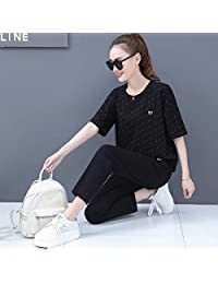 Gangxia 2019新款宽松修身显瘦长裤时尚两件套短袖休闲运动服套装女夏