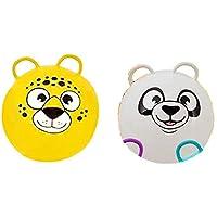 SK Novelty 动物园动物脸 20 英寸跳跳跳跳跳跳球 带两个手柄 - 2 个装 Yellow Bear & White Panda