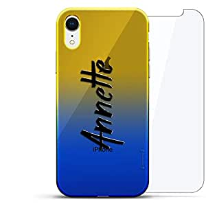 奢华设计师,3D 印花,时尚,高端,高端,Chameleon 变色效果,360 保护玻璃包手机套 iPhone Xr - Dusk Blue Tamara,现代字体名字LUX-IRCRM2B360-NMANNETTE1 NAME: ANNETTE, HAND-WRITTEN STYLE 蓝色(Dusk)