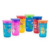 "Nuby No Spill 360 度印花神奇杯 Red/Blue, Aqua/Pink, Yellow/Aqua 5 ""英寸"
